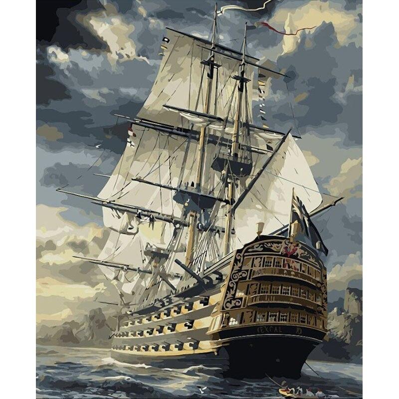 Numbrite järgi maalimine  40x50 /  60x75cm merel purjetamine ( raamiga või raamita)