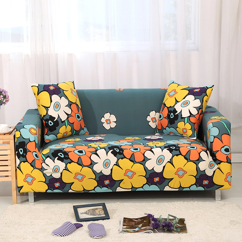 1pc Leaf and Flower Printed Sofa Cover Made of Polyester and Spandex Fabric for L Shaped and Corner Sofa 26