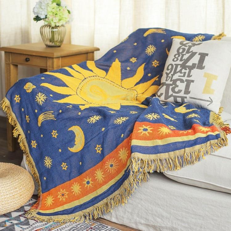 Soleil, lune, ciel étoilé Vintage épais coton couverture tapis épais style rural Double face lit couverture canapé serviette mur tapisserie