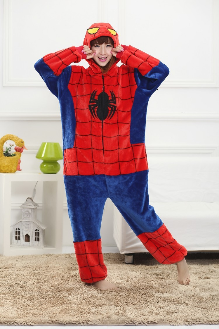 7037853fd4e5 Unisex Spiderman Onesies Adults Pajamas Flannel Hooded Cosplay Cartoon  Costums Animal Pyjamas For Women Men-in Anime Costumes from Novelty    Special Use on ...