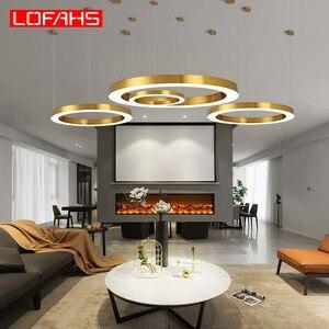 Image 4 - LOFAHS Modern LED avize lüks büyük kombinasyon daire oturma odası için led lamba asılı fikstür yüzük avizeler lamba