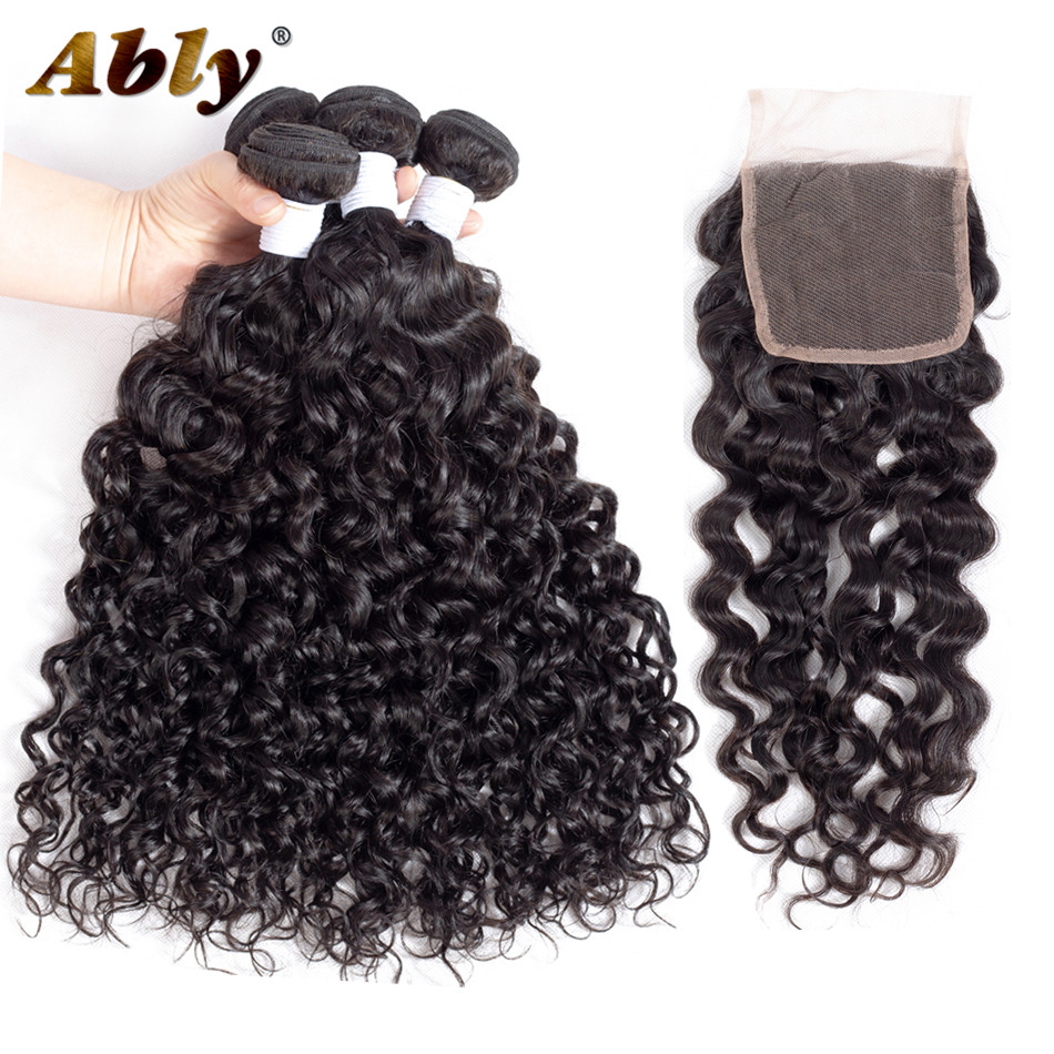 Brazilian Water Wave Bundles With Closure Ably 100% Remy Hair Weft Weave Bundle Wet And Wavy Human Hair 4 Bundles With Closure