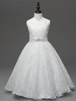 Fashion High Quality Kids Prom Wedding Evening Lace Flower Girl Dress Size 8 To Size 16
