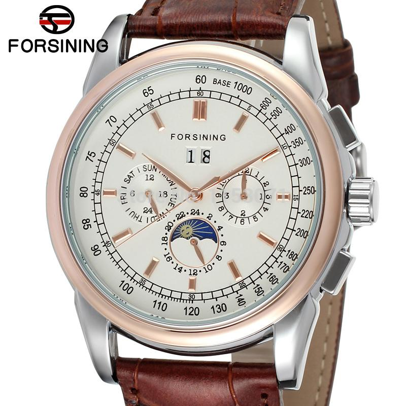 все цены на FSG319M3T1 New Automatic men  dress wrist watch  with moon phase brown genuine leather strap free shipping gift box whole sale онлайн