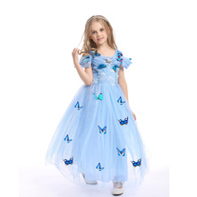 For Height 110 to 150cm Girls Dress Halloween Costume Princess  Ginderella Christmas Kids Cosplay Party Dresses