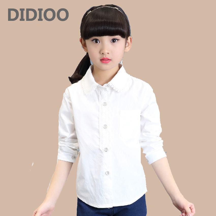 Children White   Blouses   For Girls   Shirts   Cotton Long Sleeve Students School Uniforms Spring Kids Tops 4 5 7 8 9 11 12 Years
