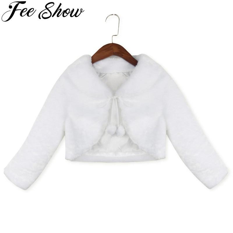 Милая детская одежда с длинным рукавом для девочек 2-8 лет, белая куртка-болеро принцессы, пальто для вечеривечерние