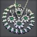 925 Plata Esterlina Creado Topacio Blanco Emerlad Verde Sistemas de La Joyería Para Las Mujeres Pendientes/Colgante/Collar/Anillos/pulseras Caja Libre