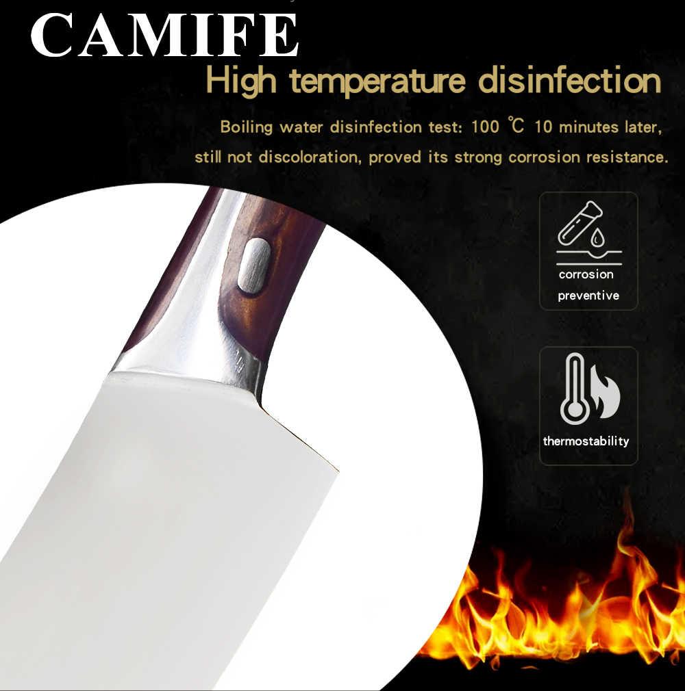 Faca de cozinha 4cr14mov faca de aço inoxidável talhante chopper cutelo fibra resina lidar com faca de cozinha talheres acessórios