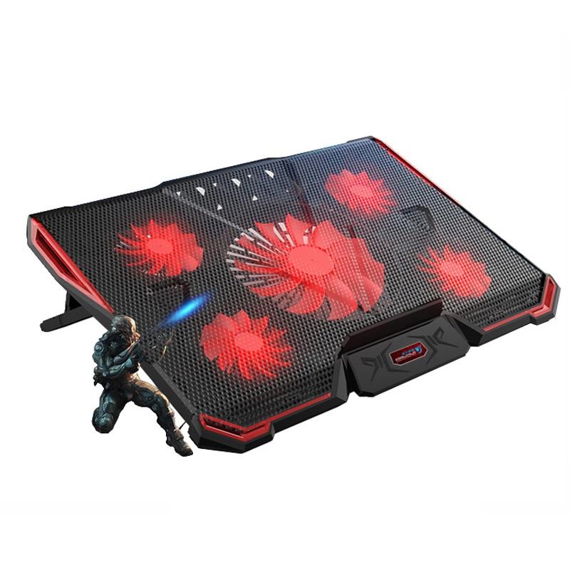 Охлаждающая подставка для ноутбука Стенд с воздушным охлаждением 5 вентиляторов 2 Порты usb регулируемый держатель для 15 15,6 17 первоклассный х...