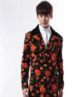 Retro classic red flower nightclubs singer blazer men bar rock punk clothing mens suit performance costumes male costume homme
