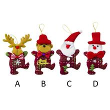 Christmas Cloth Doll Pendant Tree Cute Ornament Wooden Xmas Santa Claus Snowman