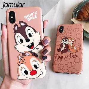 JAMULAR Chip Dale Cartoon Phone Case For iPhone X XS MAX XR 6 6s 8 Plus Cute Squirrel Brothers Soft TPU Back Cover For iPhone 7(China)
