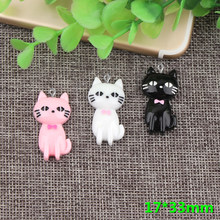 10pcs 17*33mm Mix Resn animal cat kitten pet charms kawaii flatback cabochon sticker for diy jewelry making findng component(China)