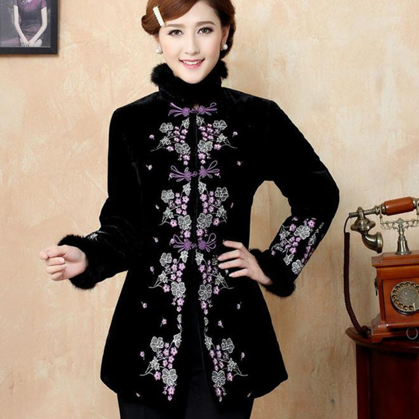 2015 Hottest Black Winter Chinese Women's Velour Embroidery Thin Wadded Jacket Outwear Free Shipping M L XL XXL 3XL 4XL Y24 мужские изделия из кожи и замши 2322 2015 m l xl xxl 3xl 4xl 5xl m l xl xxl xxxl 4xl 5xl