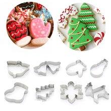 1 шт., Рождественская форма для печенья, форма для печенья из нержавеющей стали, инструмент для выпечки, Рождественская тема, снежинка, Санта-Клаус, пряник, форма для торта