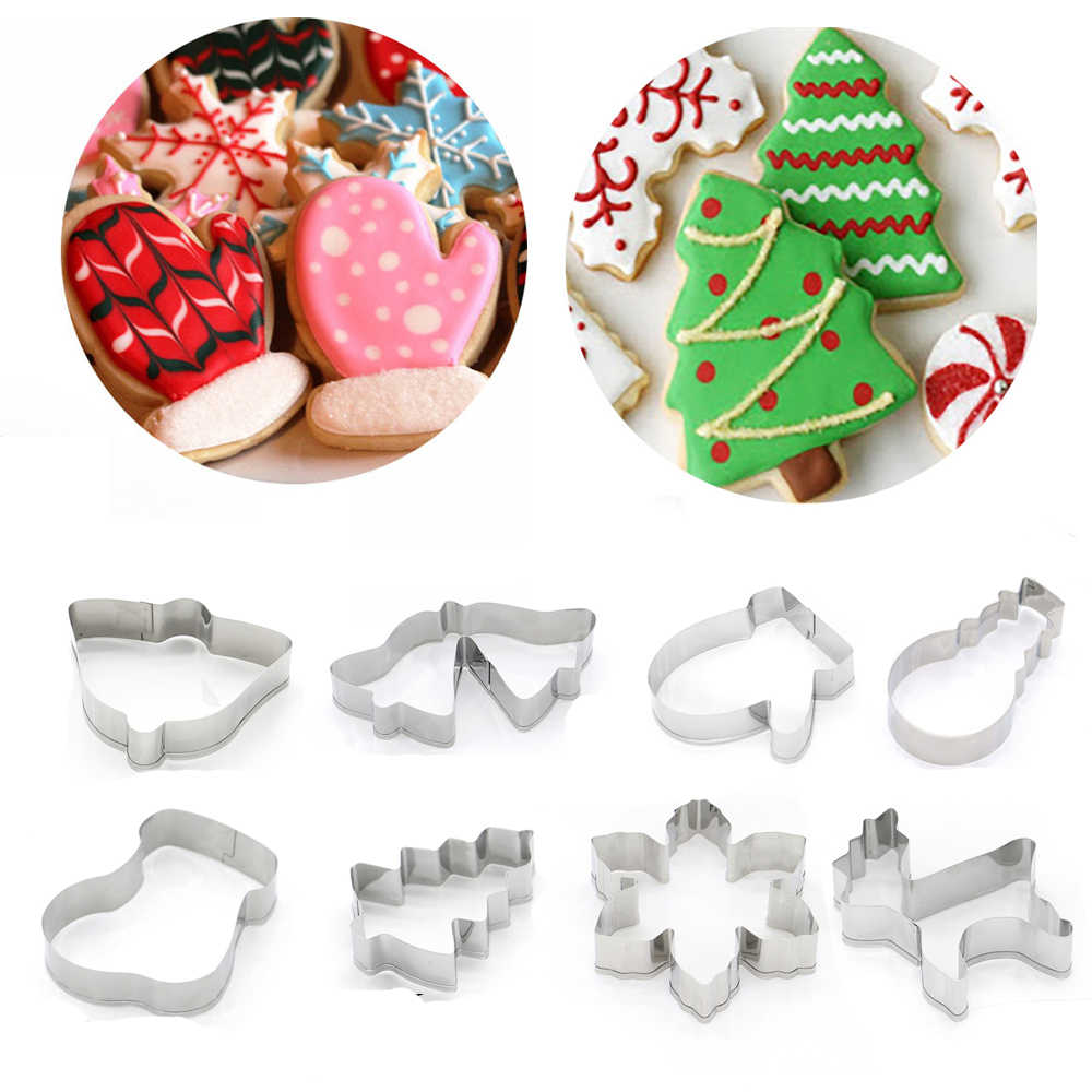 1PC Stainless Steel Biscuit Mold Christmas Cookie Cutter Xmas Theme Snowflake Santa Claus Gingerbread Man Cake Mould Baking Tool
