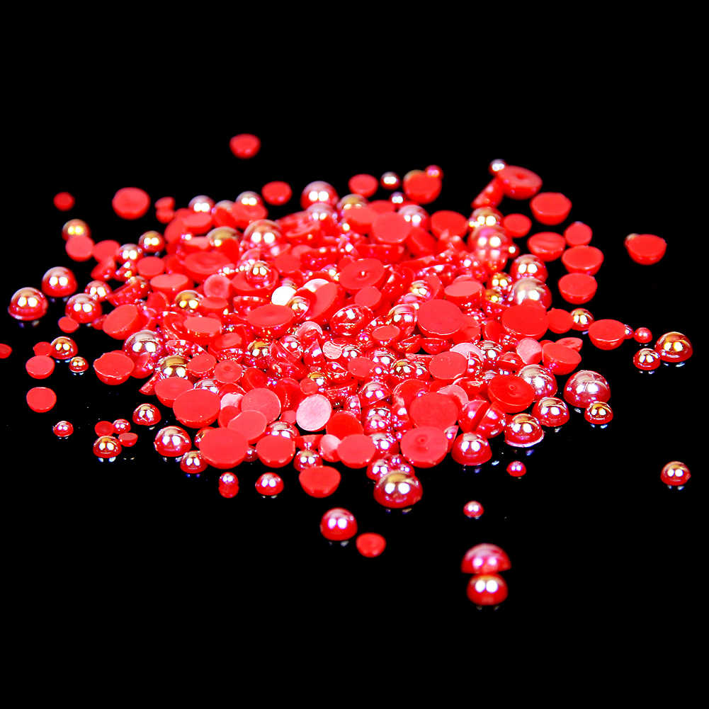 2-5mm And Mixed Sizes Red AB Resin Half Round Craft ABS Imitation Pearls Beads For Nails Art Backpack Design Decorations