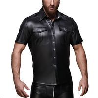 AIIOU Sexy Black Faux Leather Shirt Wet Look Stretch Undershirt Latex Novelty Short Sleeve Uniform Clubwear Stage Costume