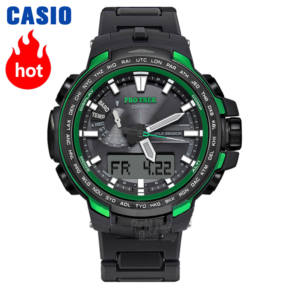 Часы Casio Protrek Мужские кварцевые спортивные часы Открытый альпинизм Радиоволны солнечной энергии водонепроницаемые часы PRW-6100