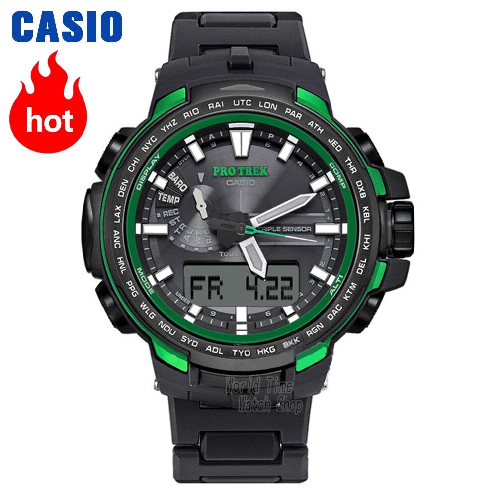 Casio reloj hombre, los hombres de cuarzo reloj deportivo alpinismo al aire libre de la onda de Radio energía solar resistente al agua reloj PRW-6100