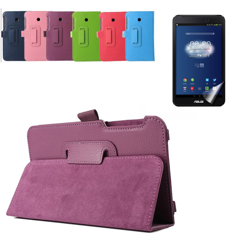 Ultra Slim Litchi 2-Folder Folio Stand PU Leather Cover Case + Screen Protector For Asus FonePad 7 FE170CG FE170 FE7010CG K012 ultra thin smart flip pu leather cover for lenovo tab 2 a10 30 70f x30f x30m 10 1 tablet case screen protector stylus pen