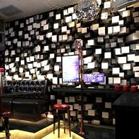 3D Stereoscopic Geometric Fashion Lattice Wallpaper Glitter Bar KTV Hotel Themed Room Background Decor Wallpaper Wall