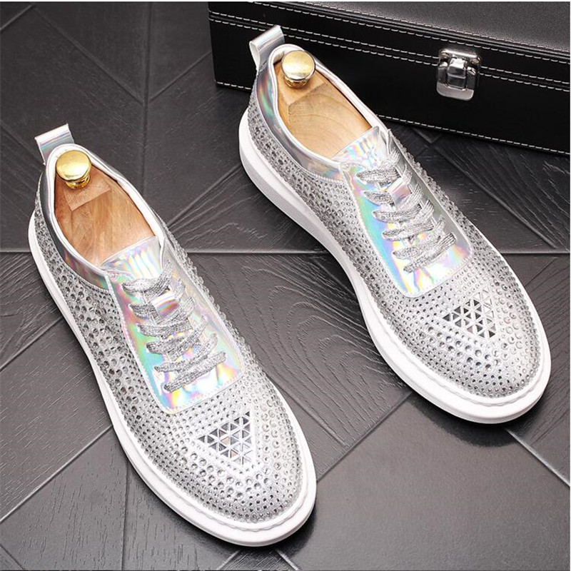 New Dandelion Spikes Flat Leather Shoes Rhinestone Fashion Mens Loafer Dress Shoes Men Casual Diamond Pointed Toe Driving Shoes 1