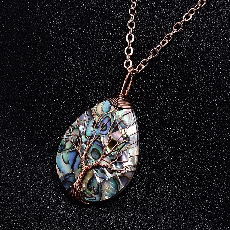Abalone Tree of Life Necklace sterling silver,Wire Wrapped Abalone Tree of Life Pendant Necklace,Abalone Necklace PETITESMALL Tree of Life