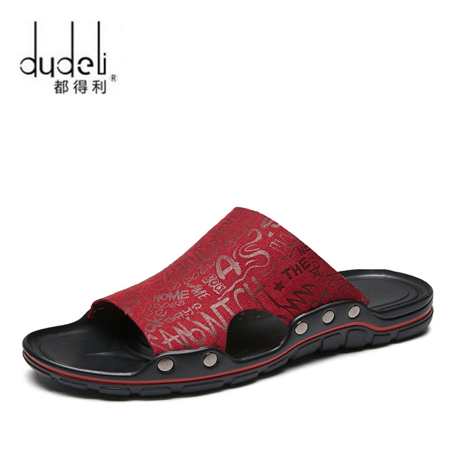 cdeb7973682858 Super Cool Fashion Men s Sandals Slides New Summer Men s Slippers British  Beach Genuine Leather Lazy Pedal Printed Flip Flops