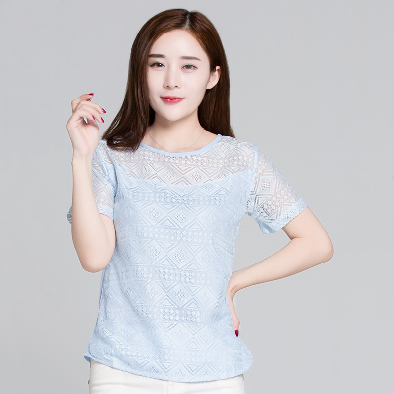 HTB1lNY Sq6qK1RjSZFmq6x0PFXao - New Women Clothing Chiffon Blouse Lace Crochet Female Korean Shirts Ladies Blusas Tops Shirt White Blouses slim fit Tops
