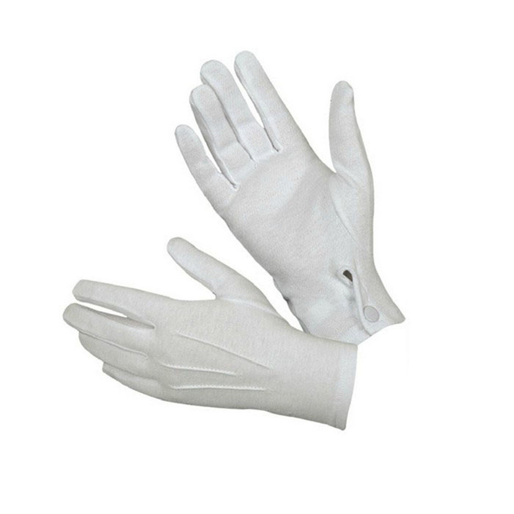 10 Pair White Cotton Gloves Tuxedo Honor Guard Parade Santa Men Gloves Soild With Button Full Finger Hand Gloves Handschoenen