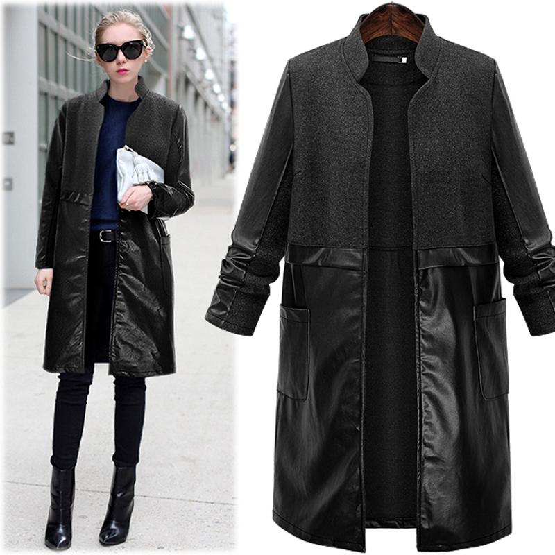 Autumn Women Leather Jacket Fashion Plus Size L-5XL Long Coats Woolen Wind Coat Stylish European American Female Warm Clothes stylish european autumn