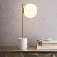 LukLoy Nordic Мрамор Стекло светодиодный настольная лампа Спальня простой светодиодный настольная лампа творческий исследование для чтения Таб