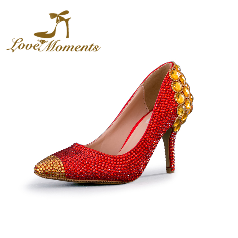 2018 New Arrival Bride Shoes Red High Heels Rhinestone Gold Crystal Banquet Party Shoes Dazzling Bridesmaid Shoes Pointed Toe