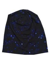 B17820 Новейший набор хлопок мерцание хорошо эластичный девушки шапочки мода синяя точка каракули металлик спандекс головные уборы шапочки для женщин