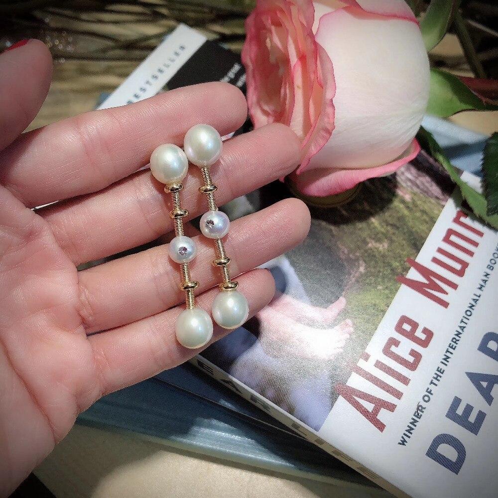 ANI 14K Roll Gold Handmade Women Drop Earring Freshwater White Pearl oorbellen Roll Gold boucle d oreille Bone Design Jewelry in Earrings from Jewelry Accessories