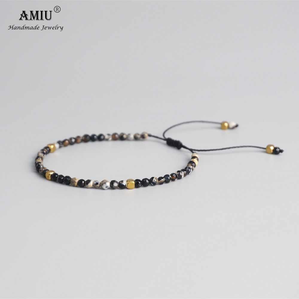 AMIU 3 millimetri Perle In Pietra Naturale Tibetano Perline di Pietra del Braccialetto di Stirata Per Le Donne Degli Uomini di Yoga Chakra Cristallo Braccialetti Con Perline