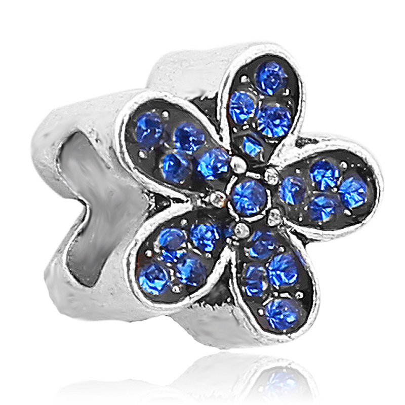 1PC New Alloy Blue Crystal Cherry Blossoms Flower Bead Charm Fits Pandora Charm Bracelets & Necklace