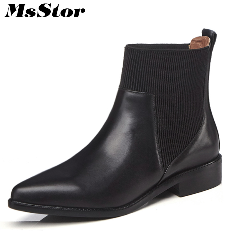 MsStor Pointed Toe Low Heel Women Boots Casual Fashion Elegant Ankle Boots Women Shoes Slip-On Genuine Leather Boots Shoes Woman