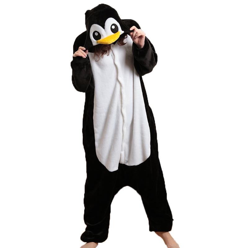 Animal penguin onepiece pajamas for adults woman winter kigurumi onesies unisex hooded pajamas