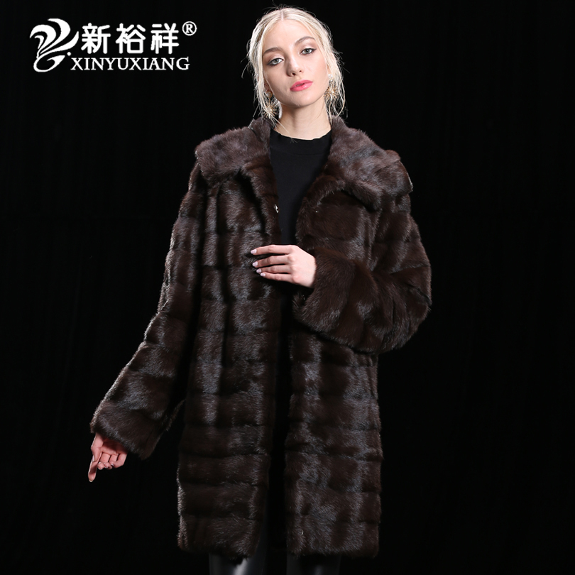 2018 lujo 100% Real Mink Fur coat mujeres invierno ropa de cuero genuino grueso largo Natural caliente chaquetas de piel personalizar 19NO