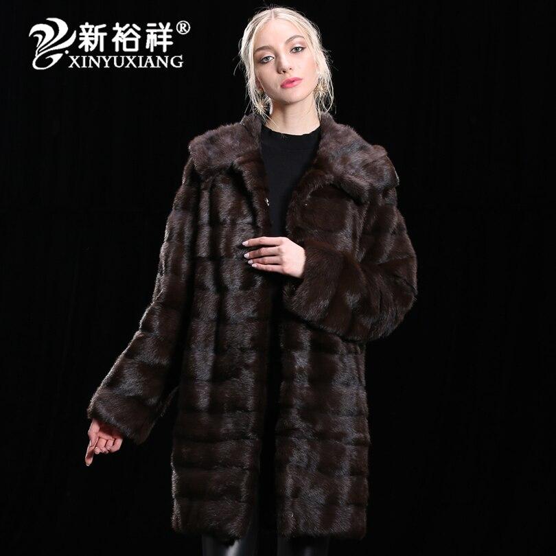 2018 luxo 100% Real do Vison casaco De Pele Das Mulheres de Inverno Genuíno Roupas De Couro Grosso longo Natural quente Casacos De Peles reais Personalizar 19NO