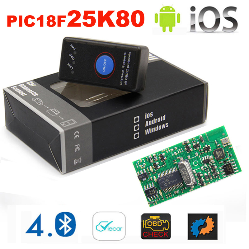 2019 New Mini ELM <font><b>327</b></font> Bluetooth 4.0 with Power Switch 25K80 ELM327 <font><b>V1.5</b></font> OBD2 Interface Scan Tool for IOS Android image