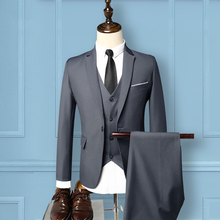 fashion solid mens 3 piece wedding suit groom good quality single button slim fit suits