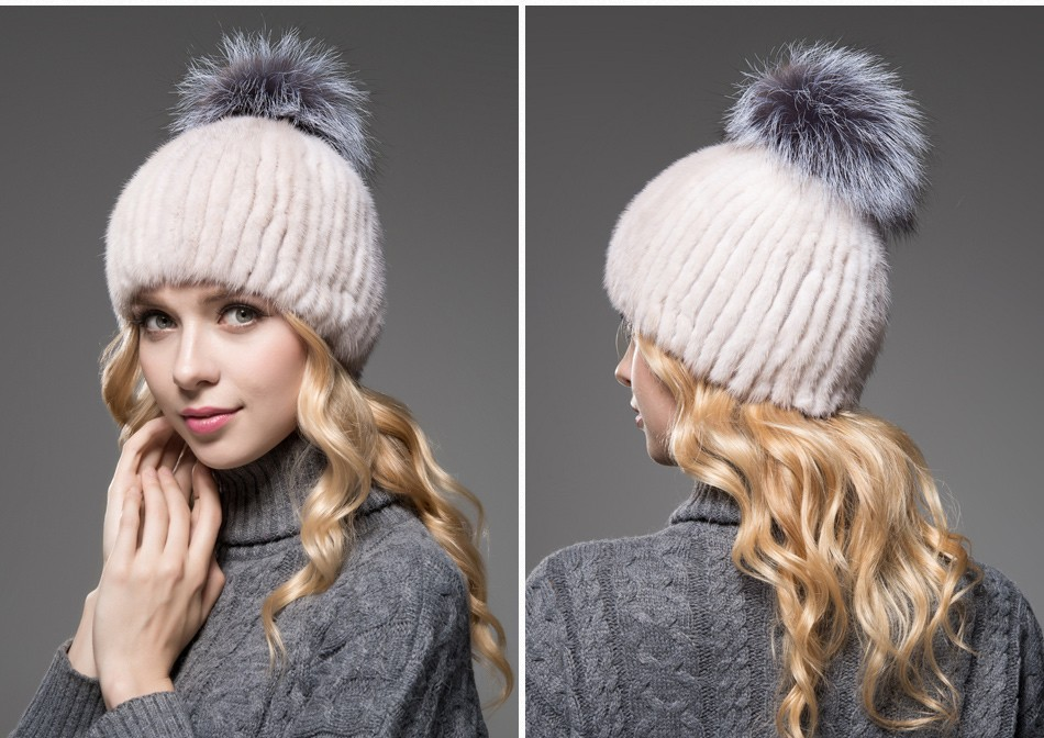 mink fur winter hats for women PCM010 (13)