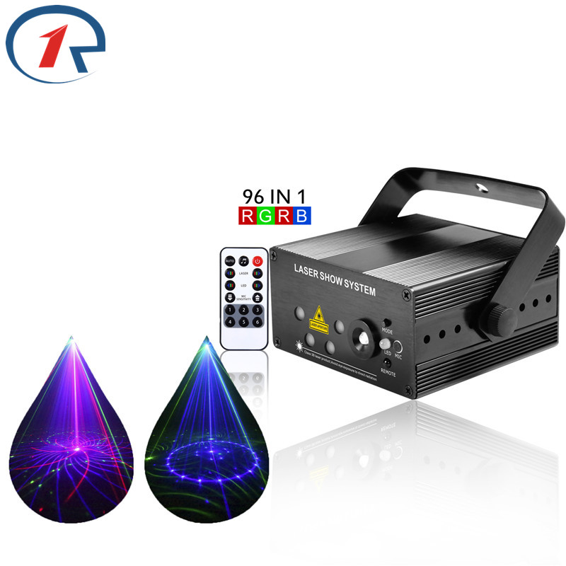 ZjRight IR Remote 96 Patterns Red Green Blue Laser Stage Light Mix Blue Led Lights Gala Party Ktv Bar Disco DJ Club Hang Lights