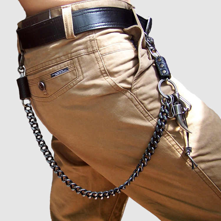Hip Hop Men's Skeleton Black Gunmetal Wallet Chain Biker Trucker Keychain Punk Wide Heavy Waist Jeans Chain DR42
