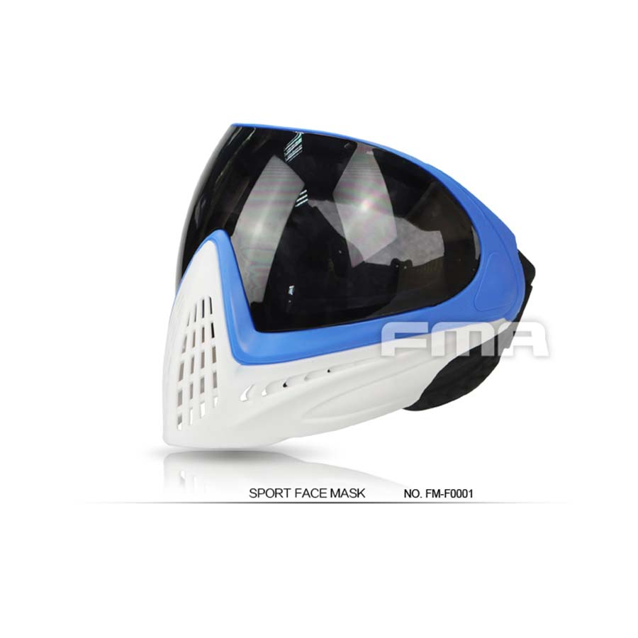 Blue & White Frame Black Lens FMA F1 Paintball Airsoft Safety Anti-fog Goggle/Full Face Mask Free Shipping