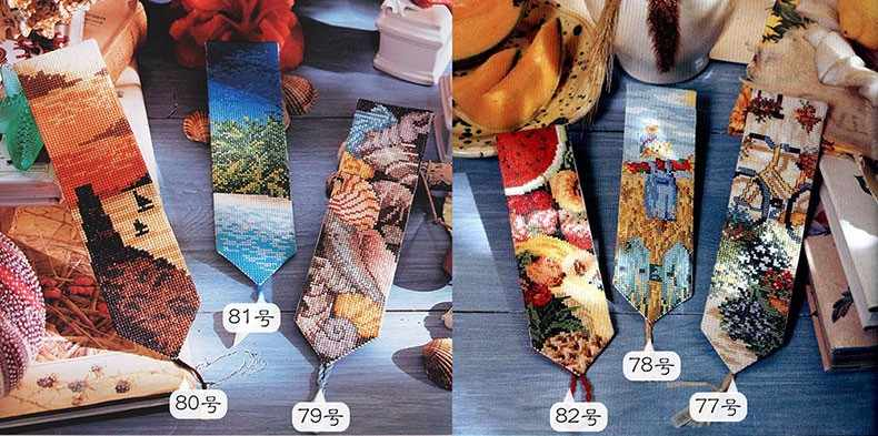 18CT Fishxx cross stitch new bookmark kit SQ77-82 coastal scenery and pastoral series 6 different models